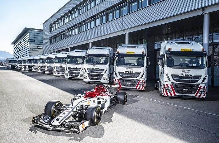 IVECO, partenaire officiel du Team Alfa Romeo Racing, fournit les camions pour la logistique de l'équipe