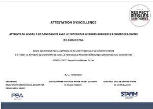 STAFIM PEUGEOT obtient ''L'ATTESTATION D'EXCELLENCE'' pour le respect des règles sanitaire COVID-19