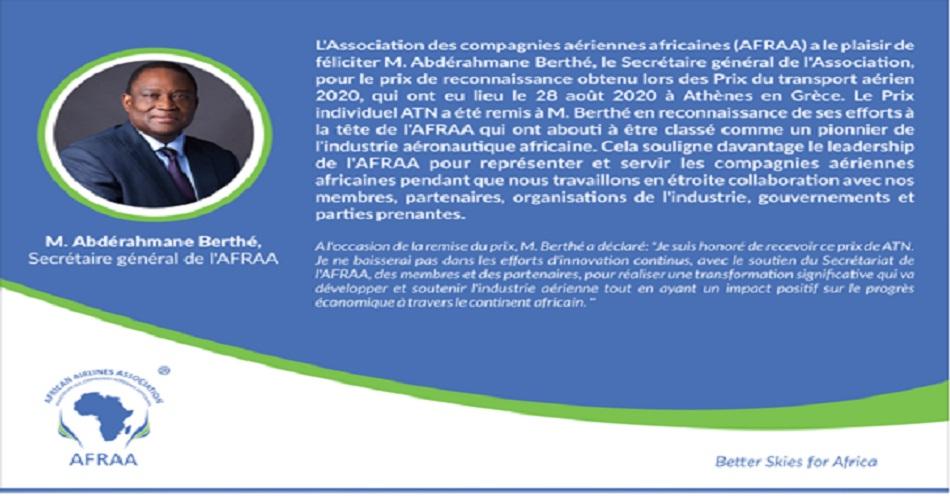 L'AFRAA félicite Abdérahmane Berthé, le Secrétaire général de l'Association, pour le prix de reconnaissance